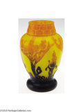 Art Glass:Le Verre, LeVerre: AN OVERLAID AND ETCHED GLASS VASE (LeVerre France)