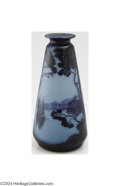 Art Glass:Other , DeLatte: AN OVERLAID AND ETCHED GLASS VASE (DeLatte)