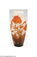 Art Glass:Other , Art: AN OVERLAID AND ETCHED GLASS VASE (Art)