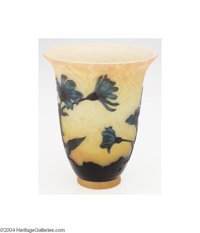Andre DeLatte: AN OVERLAID AND ETCHED GLASS VASE (Andre DeLatte) Andre DeLatte, c.1910  The yellow, orange and pink inte...