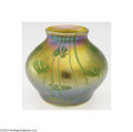 Art Glass:Tiffany , Tiffany: AN AMERICAN ETCHED IRIDESCENT GLASS VASE (Tiffany)