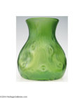 Art Glass:Loetz, Loetz: A GREEN RUSTICANA GLASS VASE (Loetz)