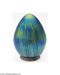 Art Glass:Loetz, Loetz: AN IRIDESCENT BULLET FORM GLASS LAMP SHADE (Loetz)