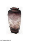 Art Glass:Galle, Emile Galle: A THICK AMETHYST WHEEL CARVED VASE (Emile Galle)...