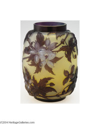 Emile Galle: A MOLD-BLOWN, OVERLAID AND ETCHED GLASS 'CLEMATIS' VASE (Emile Galle) Emile Gallé, c.1910  The frost...