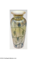 Art Glass:Other , Durand: AN IRIDESCENT HEART AND VINE MOTIF GLASS VASE (...