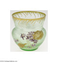 Art Glass:Other , Mont Joye: AN ETCHED AND ENAMELED GLASS VASE (Mont Joye)