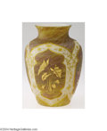 Art Glass:Other , AN ENGLISH CHINOISERIE ETCHED AND ENAMELED GLASS VASE