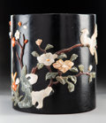 Carvings, A Chinese Lacquered Wood Brush Pot with Inlaid Hardstone. 7-1/2 x 6-3/4 inches (19.1 x 17.1 cm). ...