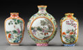 Ceramics & Porcelain, A Group of Three Chinese Famille Rose Snuff Bottles. Marks: Four-character Qianlong mark in red, and of a later period. 3 x ... (Total: 3 Items)