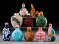 Carvings, A Group of Ten Chinese Snuff Bottles. 3 inches (7.6 cm) (tallest). ... (Total: 10 Items)