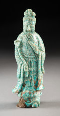Carvings, A Chinese Carved Amazonite Figure of Guanyin, 20th century. 7-3/8 inches (18.7 cm). ...