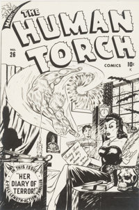 Syd Shores The Human Torch #26 Cover Stat Production Art (Marvel, 1947)