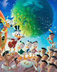 Carl Barks An Astronomical Predicament Signed Limited Edition Lithograph Print #10/345 (Another Rainbow, 1990)