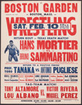 "Boxing Collectibles:Memorabilia, 1968 Hans Mortier vs. Bruno Sammartino ""Texas Death Match"" Original Wrestling Poster...."