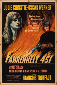 """Fahrenheit 451 (Universal, 1967). Folded, Fine+. Argentinean One Sheet (29"""" X 43""""). Science Fiction"""