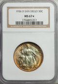 1936-D 50C San Diego MS67 ★ NGC. NGC Census: (57/2). PCGS Population: (111/2). MS67. Mintage 30,092....(PCGS# 9372)