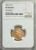 Three Dollar Gold Pieces: , 1856-S $3 -- Cleaned -- NGC Details. XF. Mintage 34,500. ...
