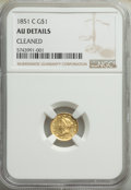 Gold Dollars: , 1851-C G$1 -- Cleaned -- NGC Details. AU. Mintage 41,267. ...