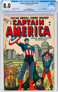 Captain America Comics #76 (Atlas, 1954) CGC VF 8.0 Off-white to white pages