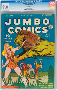 Jumbo Comics #15 (Fiction House, 1940) CGC NM+ 9.6 White pages