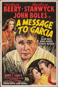 "Movie Posters:Drama, A Message to Garcia (20th Century Fox, 1936). Folded, Fine/Very Fine. One Sheet (27"" X 41"") Style B. Drama.. ..."