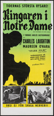 "The Hunchback of Notre Dame (Pallas Film, R-1950s). Rolled, Very Fine+. Swedish Insert (12.5"" X 27.5""). Horror..."