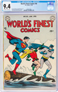 Golden Age (1938-1955):Superhero, World's Finest Comics #38 (DC, 1949) CGC NM 9.4 Off-white to white pages....