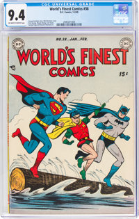 World's Finest Comics #38 (DC, 1949) CGC NM 9.4 Off-white to white pages