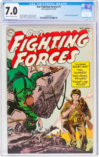 Our Fighting Forces #1 (DC, 1954) CGC FN/VF 7.0 Cream to off-white pages