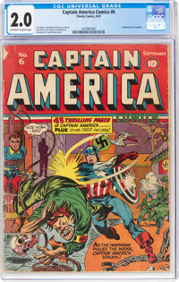 Captain America Comics #6 (Timely, 1941) CGC GD 2.0 Off-white to white pages