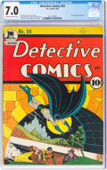 Golden Age (1938-1955):Superhero, Detective Comics #54 (DC, 1941) CGC FN/VF 7.0 Cream to off-white pages....