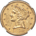 1850-C $5 AU55+ NGC. CAC. Variety 1. Ex: Rive d'Or Collection. The 1850-C is moderately plentiful in the context of Char...