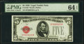 Fr. 1525 $5 1928 Legal Tender Note. PMG Choice Uncirculated 64 EPQ