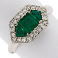 Estate Jewelry:Rings, Emerald, Diamond, Platinum Ring . ...