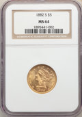 1882-S $5 MS64 NGC. NGC Census: (184/30). PCGS Population: (185/20). CDN: $700 Whsle. Bid for NGC/PCGS MS64. Mintage 969...