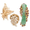 Estate Jewelry:Brooches - Pins, Jadeite Jade, Pink Sapphire, Diamond, Gold Brooches . ... (Total: 3 Items)
