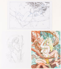 Dan Brereton, Mitch Foust, and Others - Jungle Girl Sketches Original Art Group of 5 (c. 2003-2005).... (Total: 5 Origin...