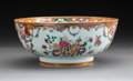 Ceramics & Porcelain, A Chinese Export Enameled Porcelain Punch Bowl, circa 1800. 4-3/4 x 11 inches (12.1 x 27.9 cm). ...
