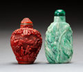 Carvings, A Chinese Jadeite Snuff Bottle and One Other. 2-3/4 x 1-1/2 x 0-5/8 inches (7.0 x 3.8 x 1.6 cm) (largest, jadeite). ... (Total: 2 Items)