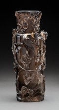 Carvings, A Large Smokey Rock Crystal Vase. 15-3/4 inches (40.0 cm). ...