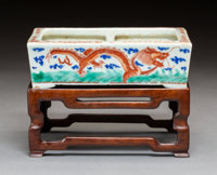A Chinese Porcelain Rectangular Bulb Planter on Hardwood Stand Marks: six-character stamped seal mark in red 2