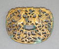 Carvings, A Chinese Gilt-Bronze Reticulated Fitting, possibly Shang Dynasty . 2-1/2 x 3-1/4 inches (6.4 x 8.3 cm). ...