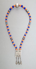 Jewelry, A Chinese Carved Hardstone, Glass, and Enameled Silver Necklace, 19th century . Marks: SILVER. 16-3/4 inches (42.5 cm). ...