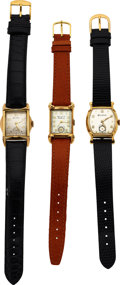 """Timepieces:Wristwatch, Three Bulova Watches, 1955 Minute Man, Banker, """"His Excell..."""