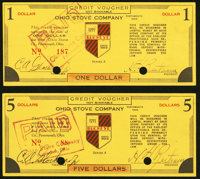 Portsmouth, OH- Ohio Stove Company $1; $5 ND (1933) Shafer OH616-1b; 5b Choice About Uncirculated, 2 POCs, rubber stampe...