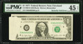 Error Notes:Foldovers, Butterfly Fold Error Fr. 1909-D $1 1977 Federal Reserve Note. PMG Choice Extremely Fine 45 EPQ.. ...
