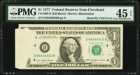 Butterfly Fold Error Fr. 1909-D $1 1977 Federal Reserve Note. PMG Choice Extremely Fine 45 EPQ