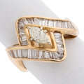 Estate Jewelry:Rings, Diamond, Gold Ring The ring features a marquis...