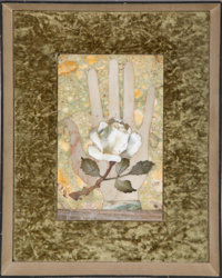 Richard Blow (American, 1904-1983) Untitled (Hand with Flower), circa 1960, Montici Hand-cut hardstone inlay in artist...